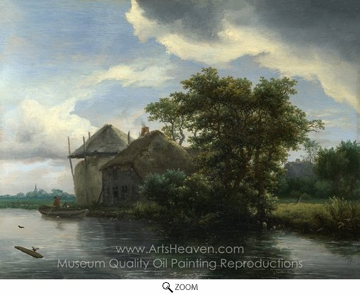 Jacob Van Ruisdael, A Cottage and a Haybrick by a River oil painting reproduction
