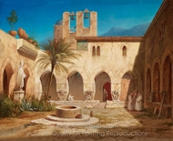 A Court Interior in an Italian Monastery painting reproduction, Gustaf Wilhelm Palm