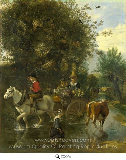 Jan Siberechts, A Cowherd Passing a Horse and Cart in a Stream oil painting reproduction
