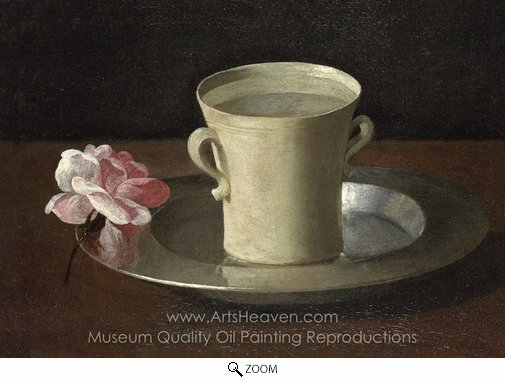 Francisco De Zurbaran, A Cup of Water and a Rose oil painting reproduction