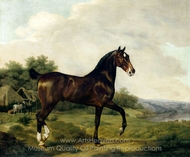 A Dark Bay Hunter in an Extensive Landscape painting reproduction, Jacques Laurent Agasse