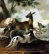 A Deer Chased by Dogs painting reproduction, Jean-Baptiste Oudry
