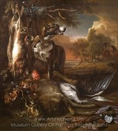 A Deerhound with Dead Game and Implements of the Chase painting reproduction, Jan Weenix