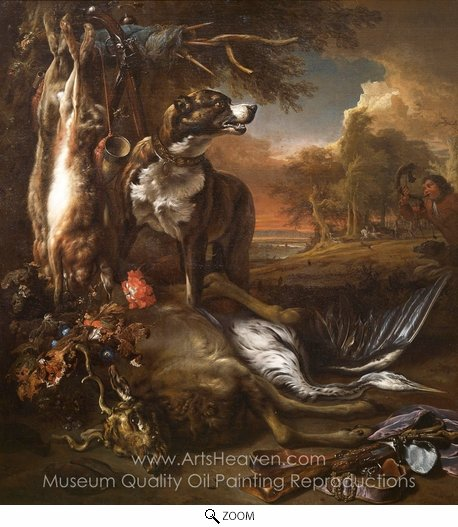 Jan Weenix, A Deerhound with Dead Game and Implements of the Chase oil painting reproduction