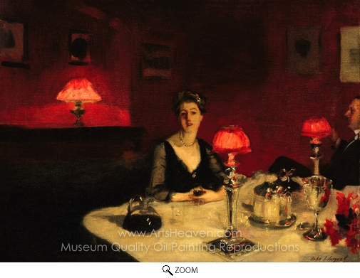 John Singer Sargent, A Dinner Table at Night oil painting reproduction