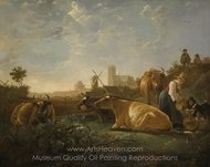 A Distant View of Dordrecht, with a Milkmaid and Four Cows painting reproduction, Aelbert Cuyp