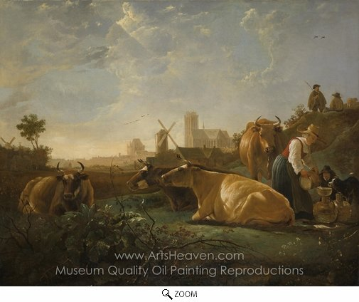 Aelbert Cuyp, A Distant View of Dordrecht, with a Milkmaid and Four Cows oil painting reproduction
