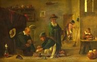 A Doctor Tending a Patient's Foot in His Surgery painting reproduction, David Teniers