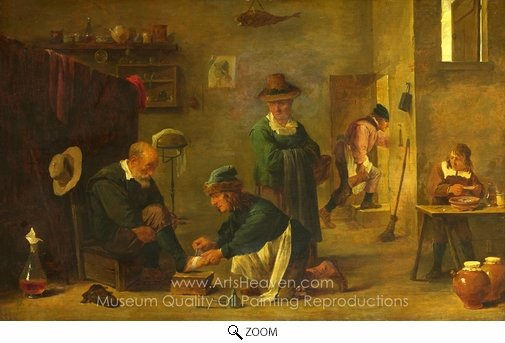 David Teniers, A Doctor Tending a Patient's Foot in His Surgery oil painting reproduction