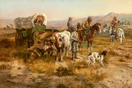 A Doubtful Visitor painting reproduction, Charles Marion Russell