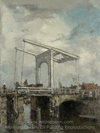 A Drawbridge in a Dutch Town painting reproduction, Jacob Maris