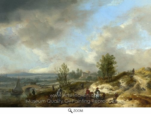 Philips Wouwerman, A Dune Landscape with a River and Many Figures oil painting reproduction