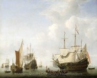 A Dutch Flagship Coming to Anchor with a States Yacht Before a Light Air painting reproduction, Willem Van De Velde