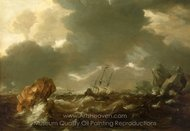 A Dutch Merchant Ship Running Between Rocks in Rough Weather painting reproduction, Willem Van De Velde