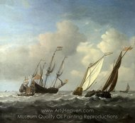 A Dutch Ship, a Yacht and Smaller Vessels in a Breeze painting reproduction, Willem Van De Velde, The Elder