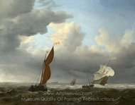 A Dutch Ship and Other Small Vessels in a Strong Breeze painting reproduction, Willem Van De Velde, The Elder