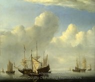 A Dutch Ship Coming to Anchor painting reproduction, Willem Van De Velde, The Elder
