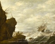 A Dutch Ship in a Breeze off a Rocky Coast painting reproduction, Pieter Mulier