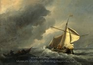A Dutch Vessel in a Strong Breeze painting reproduction, Willem Van De Velde, The Elder