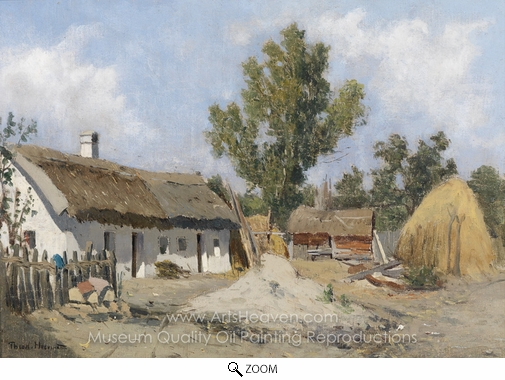 Theodor Von Hormann, A Farm oil painting reproduction