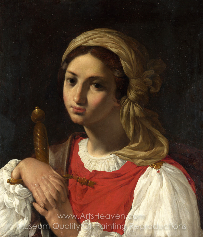 Italian Painter A Female Figure Resting On Sword Oil Painting Reproduction