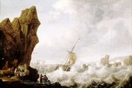 A Fishing Boat in Rough Sea off a Rocky Shore painting reproduction, Jan Porcellis