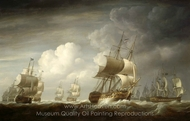 A Fleet of East Indiamen at Sea painting reproduction, Nicholas Pocock
