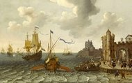 A French Galley and Dutch Men-of-War off a Port painting reproduction, Abraham Willaerts