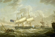 A Frigate Coming to Anchor in the Mersey painting reproduction, Robert Salmon