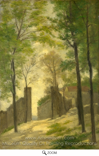 Stanislas-Victor-Edmond Lapine, A Gateway Behind Trees oil painting reproduction