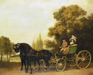 A Gentleman Driving a Lady in a Phaeton painting reproduction, George Stubbs