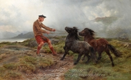 A Ghillie and Two Shetland Ponies in a Misty Landscape painting reproduction, Rosa Bonheur