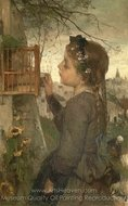 A Girl Feeding a Bird in a Cage painting reproduction, Jacob Maris