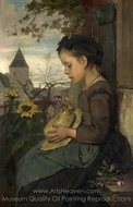 A Girl Seated Outside a House painting reproduction, Jacob Maris