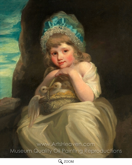British Painter, A Girl with a Basket of Birds oil painting reproduction