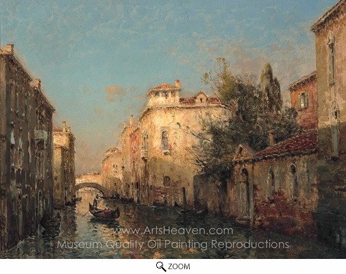 Antoine Bouvard, A Gondola on a Venetian Backwater oil painting reproduction