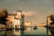 A Gondola on a Venetian Backwater, St. Mark's Tower Beyond painting reproduction, Antoine Bouvard