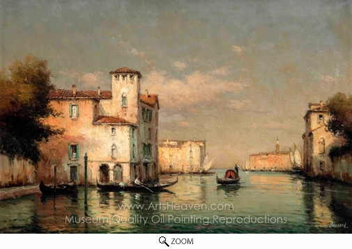 Antoine Bouvard, A Gondola on a Venetian Backwater, St. Mark's Tower Beyond oil painting reproduction