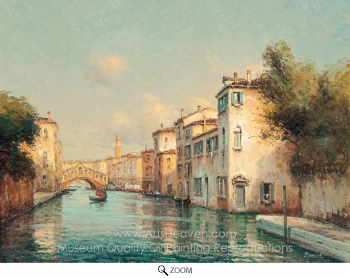Antoine Bouvard, A Gondola on the Grand Canal, the Rialto Bridge Beyond, Venice oil painting reproduction