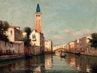 A Gondolier Before a Venetian Bridge painting reproduction, Antoine Bouvard