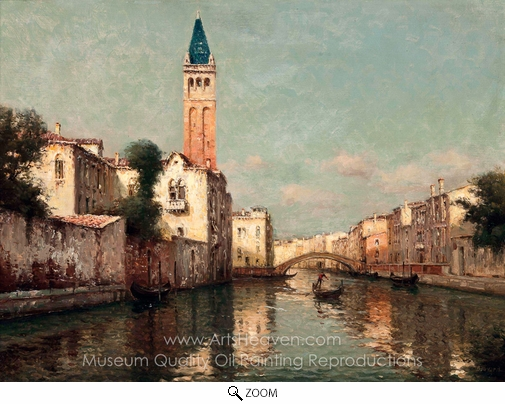 Antoine Bouvard, A Gondolier Before a Venetian Bridge oil painting reproduction