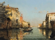 A Gondolier on a Venetian Backwater painting reproduction, Antoine Bouvard