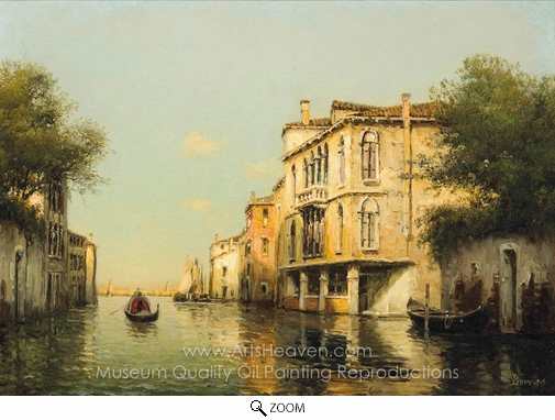 Antoine Bouvard, A Gondolier on a Venetian Backwater oil painting reproduction