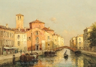 A Gondolier on a Venetian Canal painting reproduction, Antoine Bouvard