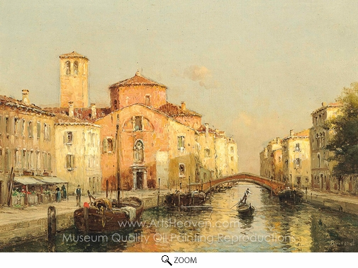 Antoine Bouvard, A Gondolier on a Venetian Canal oil painting reproduction