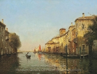 A Gondolier, Venice painting reproduction, Antoine Bouvard