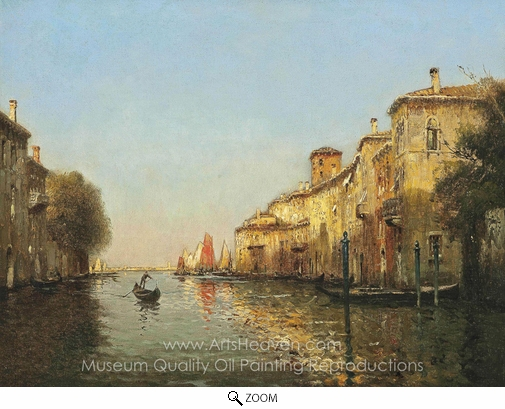Antoine Bouvard, A Gondolier, Venice oil painting reproduction
