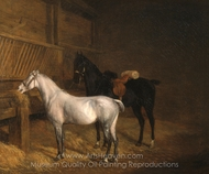 A Grey Pony and a Black Charger in a Stable painting reproduction, Jacques Laurent Agasse