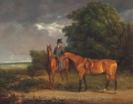 A Groom Mounted on a Chestnut Hunter, He Holds a Bay Hunter by the Reins painting reproduction, Jacques Laurent Agasse