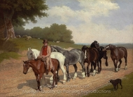 A Groom with a String of Carthorses and a Dog, on a Country Road painting reproduction, Jacques Laurent Agasse